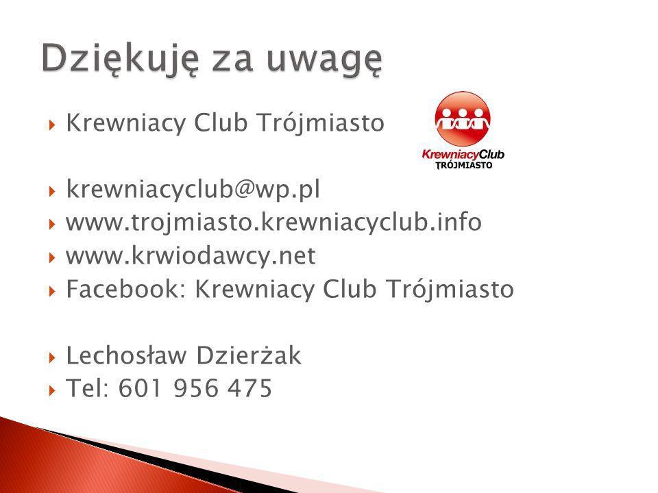 Krewniacy Club Trójmiasto krewniacyclub@wp.pl www.trojmiasto.krewniacyclub.info www.krwiodawcy.net Facebook: Krewniacy Club Trójmiasto Lechosław Dzierżak Tel: 601 956 475