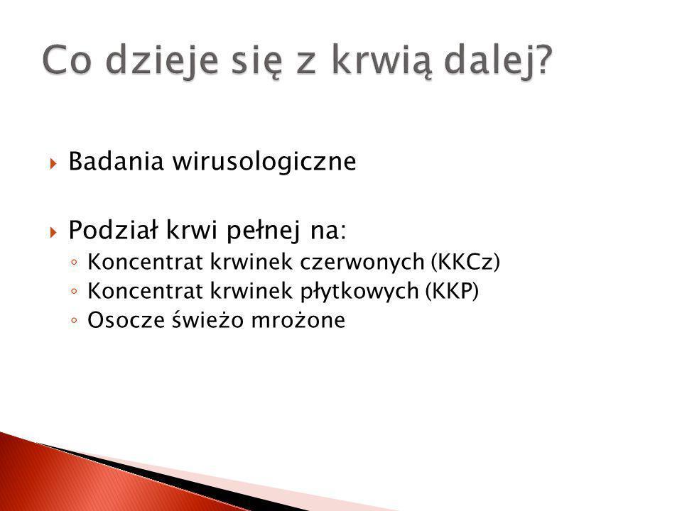 Badania wirusologiczne Podział krwi pełnej na: Koncentrat krwinek czerwonych (KKCz) Koncentrat krwinek płytkowych (KKP) Osocze świeżo mrożone