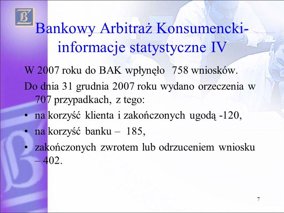 7 Bankowy Arbitraż Konsumencki- informacje statystyczne IV W 2007 roku do BAK wpłynęło 758 wniosków.