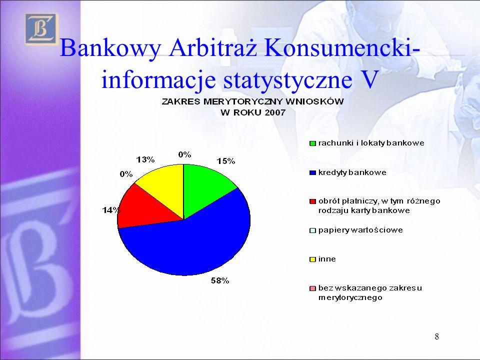 8 Bankowy Arbitraż Konsumencki- informacje statystyczne V