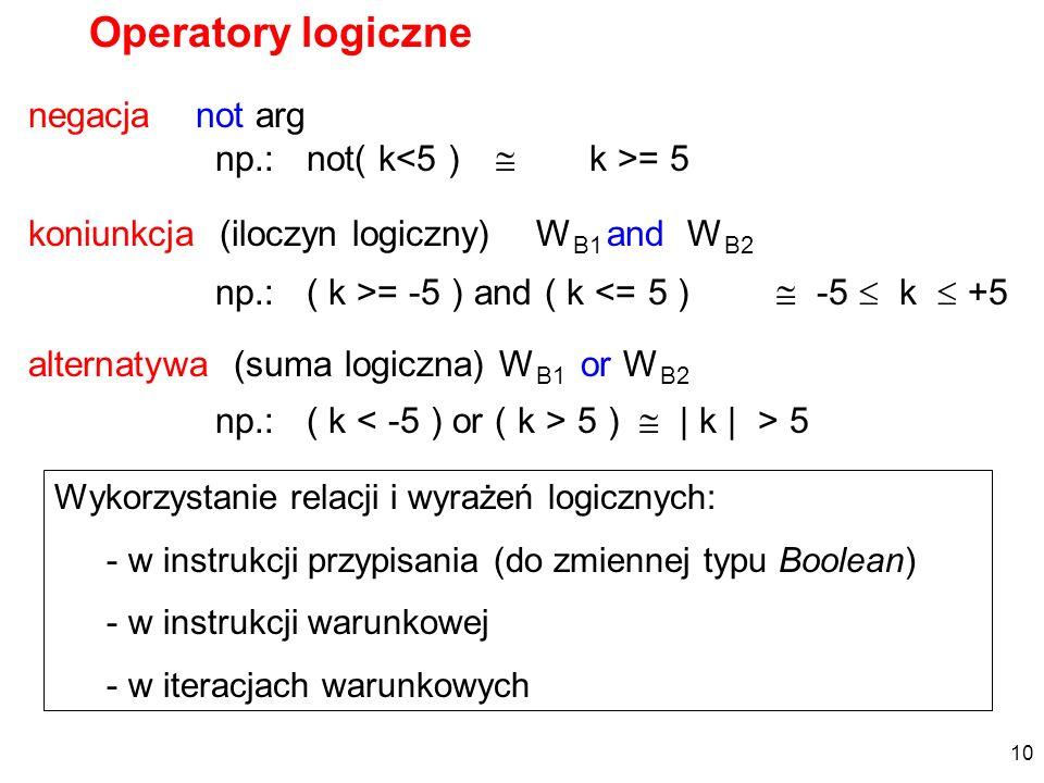 Operatory logiczne koniunkcja (iloczyn logiczny) W B1 and W B2 np.: ( k >= -5 ) and ( k <= 5 ) -5 k +5 alternatywa (suma logiczna) W B1 or W B2 np.: (