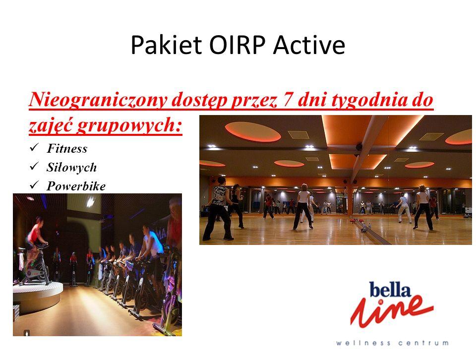 Pakiet OIRP Active Nieograniczony dostęp przez 7 dni tygodnia do zajęć grupowych: Fitness Siłowych Powerbike