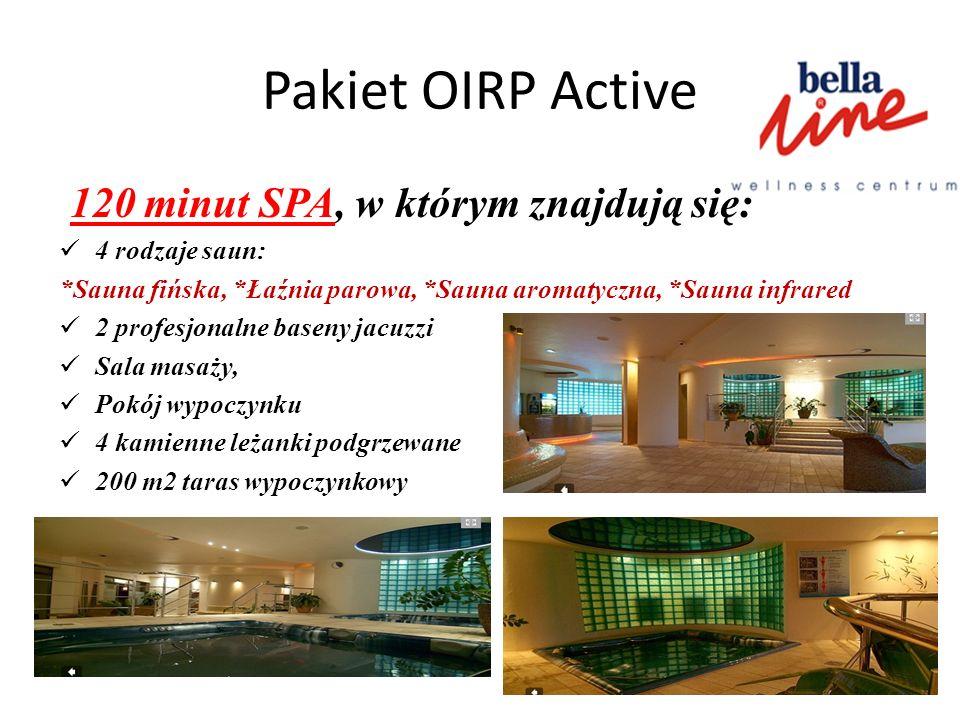 Pakiet OIRP Active 120 minut SPA, w którym znajdują się: 4 rodzaje saun: *Sauna fińska, *Łaźnia parowa, *Sauna aromatyczna, *Sauna infrared 2 profesjo