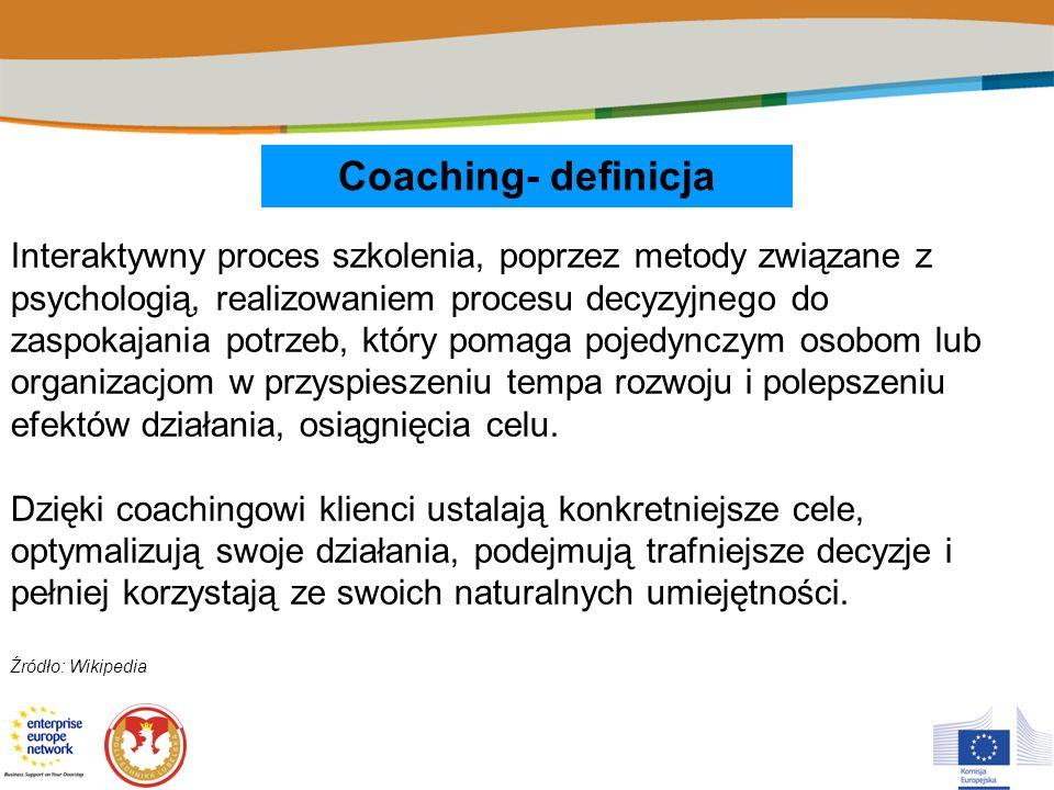Coaching- definicja Interaktywny proces szkolenia, poprzez metody związane z psychologią, realizowaniem procesu decyzyjnego do zaspokajania potrzeb, k