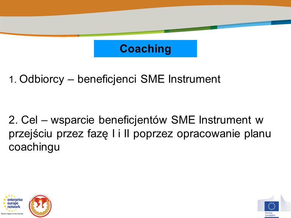 Coaching 1. Odbiorcy – beneficjenci SME Instrument 2. Cel – wsparcie beneficjentów SME Instrument w przejściu przez fazę I i II poprzez opracowanie pl