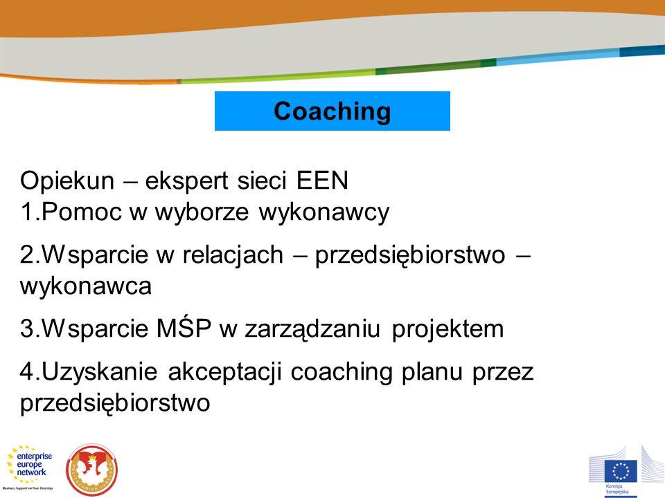 Coaching Opiekun – ekspert sieci EEN 1.Pomoc w wyborze wykonawcy 2.Wsparcie w relacjach – przedsiębiorstwo – wykonawca 3.Wsparcie MŚP w zarządzaniu pr