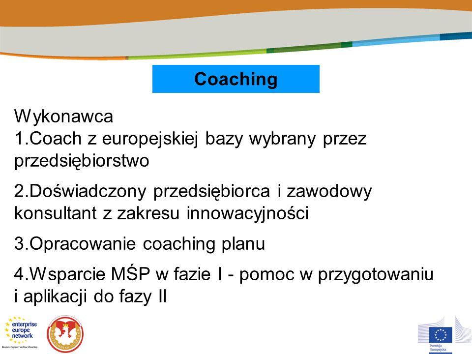 Coaching Wykonawca 1.Coach z europejskiej bazy wybrany przez przedsiębiorstwo 2.Doświadczony przedsiębiorca i zawodowy konsultant z zakresu innowacyjn