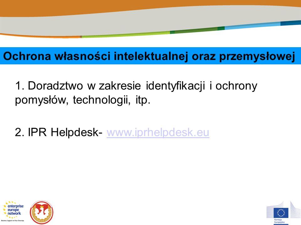 Ochrona własności intelektualnej oraz przemysłowej 1. Doradztwo w zakresie identyfikacji i ochrony pomysłów, technologii, itp. 2. IPR Helpdesk- www.ip
