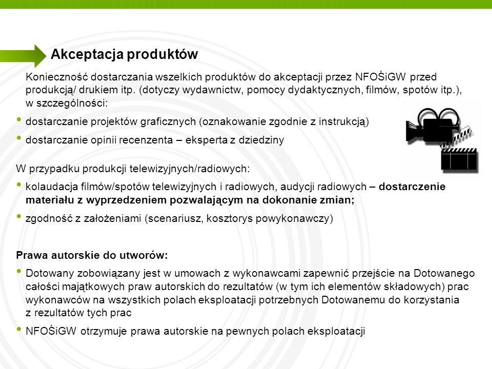 Akceptacja produktów Konieczność dostarczania wszelkich produktów do akceptacji przez NFOŚiGW przed produkcją/ drukiem itp. (dotyczy wydawnictw, pomoc