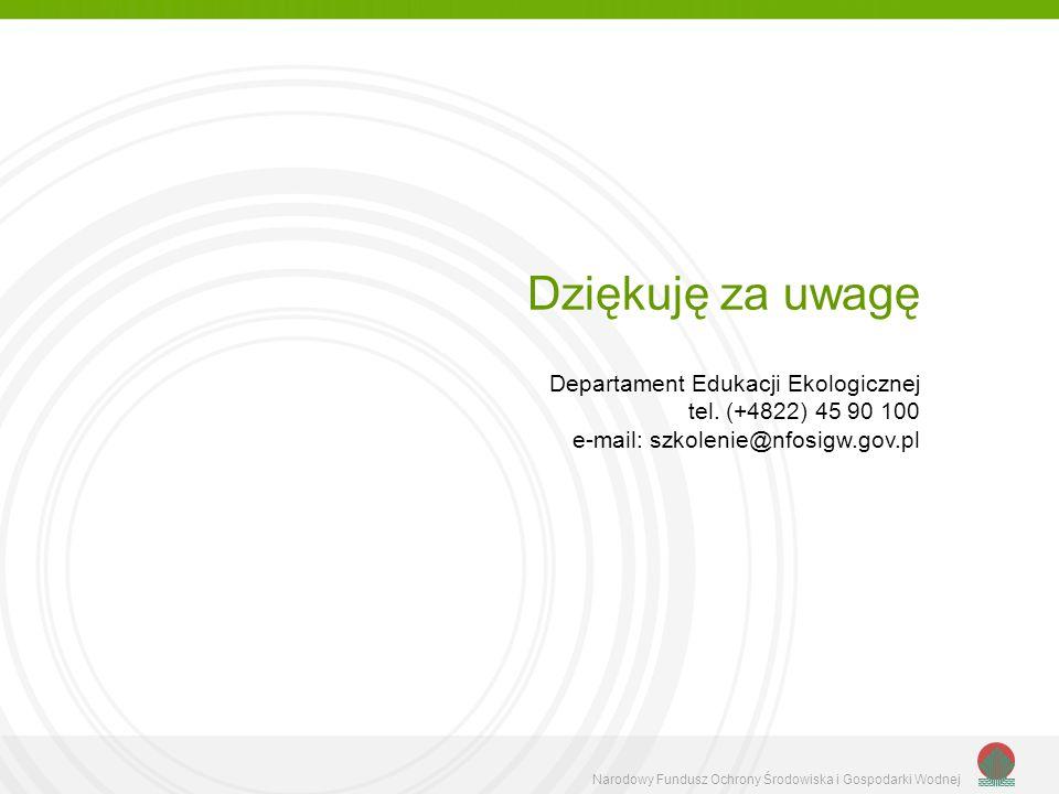 Narodowy Fundusz Ochrony Środowiska i Gospodarki Wodnej Dziękuję za uwagę Departament Edukacji Ekologicznej tel. (+4822) 45 90 100 e-mail: szkolenie@n