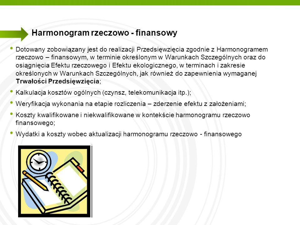 Harmonogram rzeczowo - finansowy Dotowany zobowiązany jest do realizacji Przedsięwzięcia zgodnie z Harmonogramem rzeczowo – finansowym, w terminie okr