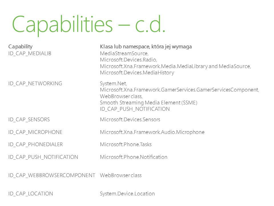CapabilityKlasa lub namespace, która jej wymaga ID_CAP_MEDIALIBMediaStreamSource, Microsoft.Devices.Radio, Microsoft.Xna.Framework.Media.MediaLibrary and MediaSource, Microsoft.Devices.MediaHistory ID_CAP_NETWORKINGSystem.Net, Microsoft.Xna.Framework.GamerServices.GamerServicesComponent, WebBrowser class, Smooth Streaming Media Element (SSME) ID_CAP_PUSH_NOTIFICATION ID_CAP_SENSORSMicrosoft.Devices.Sensors ID_CAP_MICROPHONEMicrosoft.Xna.Framework.Audio.Microphone ID_CAP_PHONEDIALERMicrosoft.Phone.Tasks ID_CAP_PUSH_NOTIFICATIONMicrosoft.Phone.Notification ID_CAP_WEBBROWSERCOMPONENTWebBrowser class ID_CAP_LOCATIONSystem.Device.Location