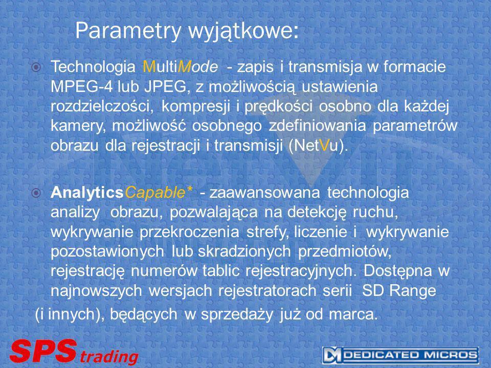 Parametry wyjątkowe: Technologia MultiMode - zapis i transmisja w formacie MPEG-4 lub JPEG, z możliwością ustawienia rozdzielczości, kompresji i prędkości osobno dla każdej kamery, możliwość osobnego zdefiniowania parametrów obrazu dla rejestracji i transmisji (NetVu).
