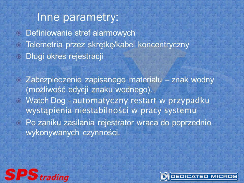 Inne parametry: Definiowanie stref alarmowych Telemetria przez skrętkę/kabel koncentryczny Długi okres rejestracji Zabezpieczenie zapisanego materiału – znak wodny (możliwość edycji znaku wodnego).