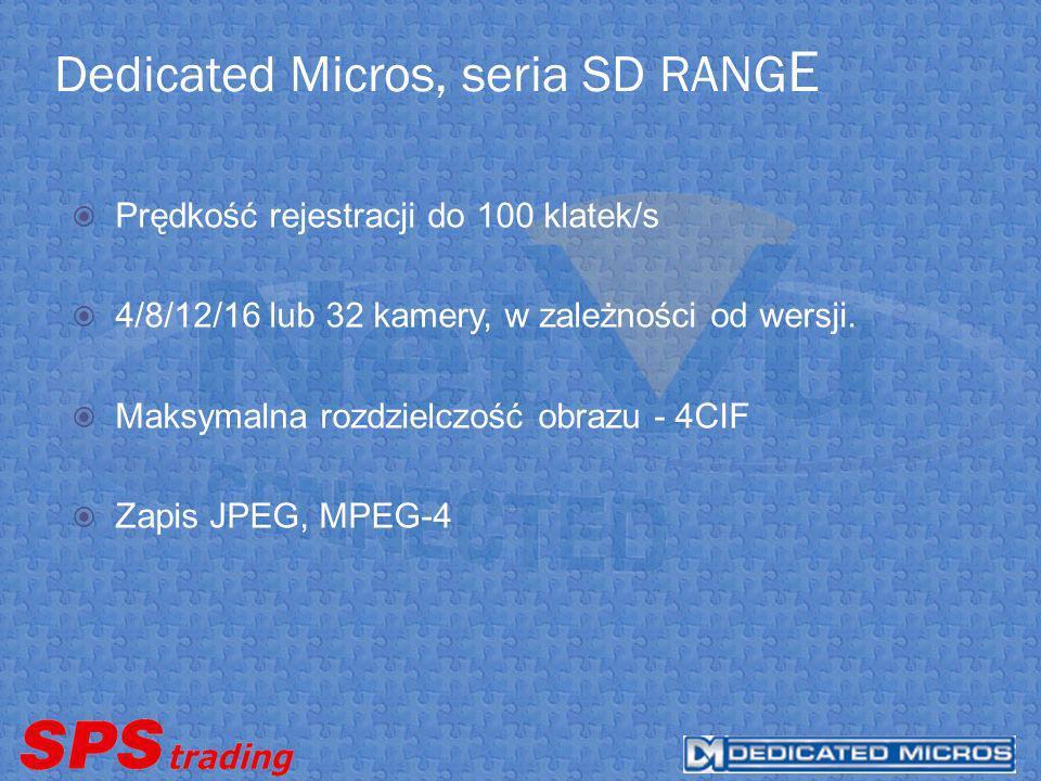 Dedicated Micros, seria SD RANGE ModelCzas rejestracjiIlość kamer Domyślna prędkość zapisu kl/s Liczba klatek na system /s SD4N3030 dni4550 SD8N3030 dni8550 SD12N3030 dni12575 SD16N3030 dni165100 SD16M3030 dni16250 SD32L3030 dni32150 SD32M3030 dni322100 SD4N6060 dni4550 SD8N6060 dni8550 SD12N6060 dni12575 SD16N6060 dni165100 SD32L6060 dni32150 SD32M6060 dni322100