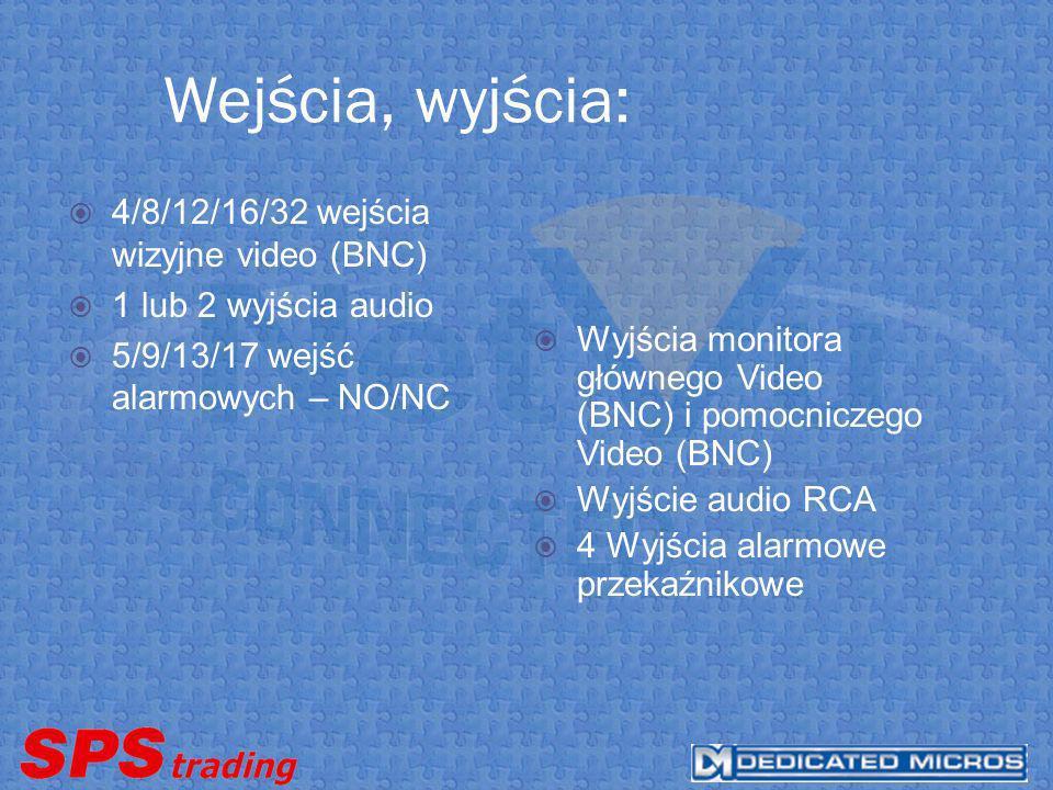 Wejścia, wyjścia: 4/8/12/16/32 wejścia wizyjne video (BNC) 1 lub 2 wyjścia audio 5/9/13/17 wejść alarmowych – NO/NC Wyjścia monitora głównego Video (BNC) i pomocniczego Video (BNC) Wyjście audio RCA 4 Wyjścia alarmowe przekaźnikowe