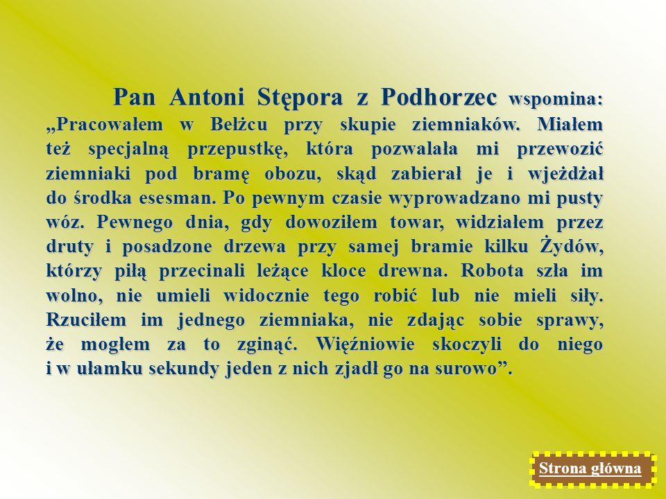 Pan Adolf Gardias z Justynówki wspominał swój pobyt w obozie w Krynicach był z rodziną: Do obozu trafiłem wraz z innymi mieszkańcami naszej wsi.
