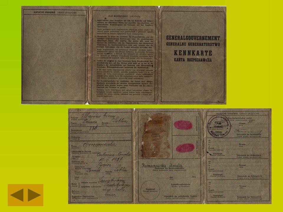 Dokument tożsamości z okresu okupacji pani Antoniny Romanowskiej, późniejszej żony Henryka Majdańskiego
