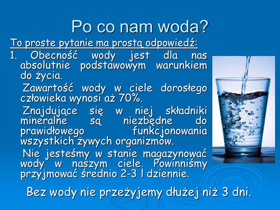 Po co nam woda? To proste pytanie ma prostą odpowiedź: 1. Obecność wody jest dla nas absolutnie podstawowym warunkiem do życia. Zawartość wody w ciele