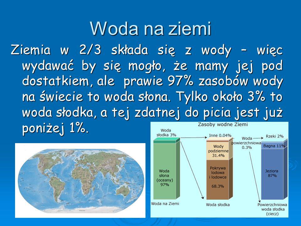 Woda na ziemi Ziemia w 2/3 składa się z wody – więc wydawać by się mogło, że mamy jej pod dostatkiem, ale prawie 97% zasobów wody na świecie to woda s