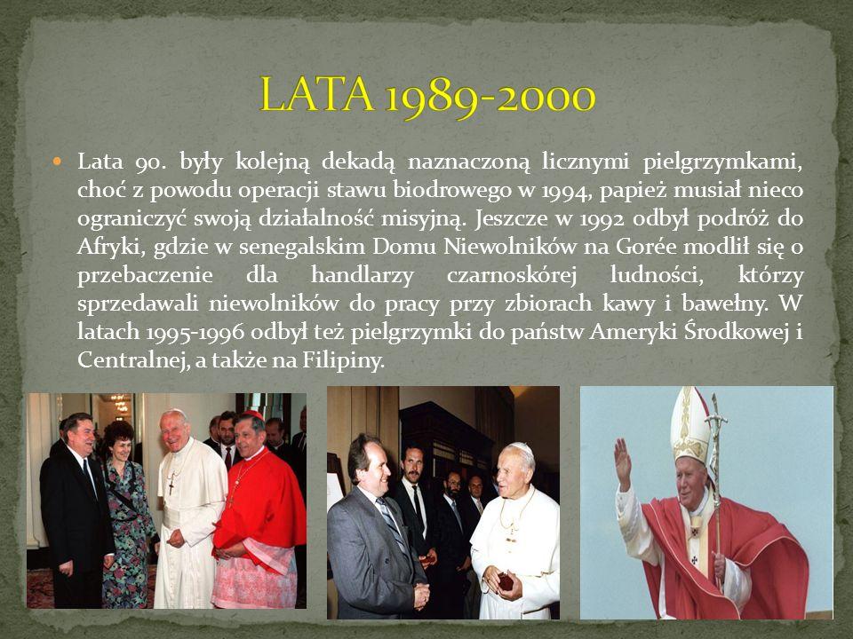 Lata 90. były kolejną dekadą naznaczoną licznymi pielgrzymkami, choć z powodu operacji stawu biodrowego w 1994, papież musiał nieco ograniczyć swoją d
