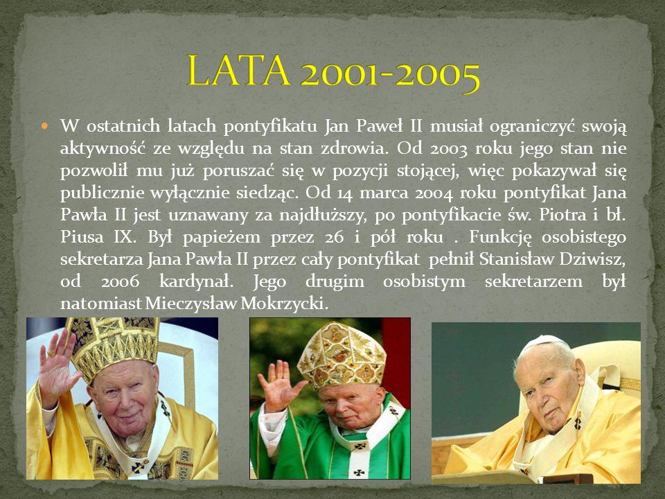 W ostatnich latach pontyfikatu Jan Paweł II musiał ograniczyć swoją aktywność ze względu na stan zdrowia. Od 2003 roku jego stan nie pozwolił mu już p
