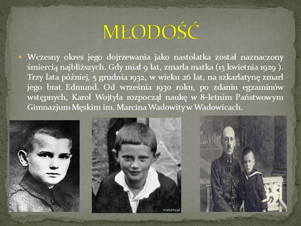 Karol Wojtyła wybrał studia polonistyczne na Wydziale Filozoficznym Uniwersytetu Jagiellońskiego.