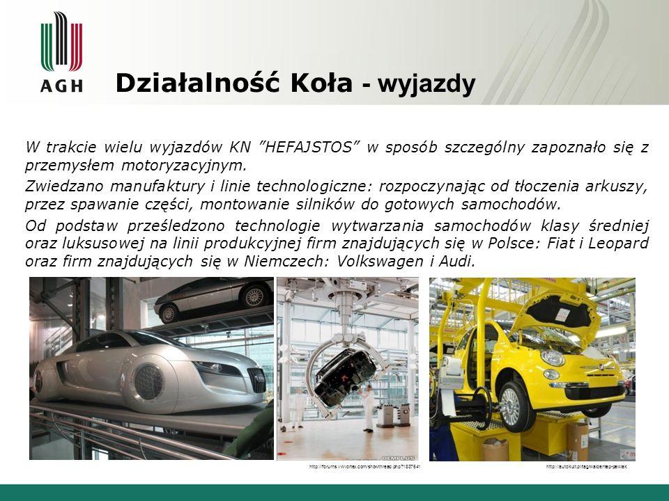 Działalność Koła - wyjazdy W trakcie wielu wyjazdów KN HEFAJSTOS w sposób szczególny zapoznało się z przemysłem motoryzacyjnym. Zwiedzano manufaktury