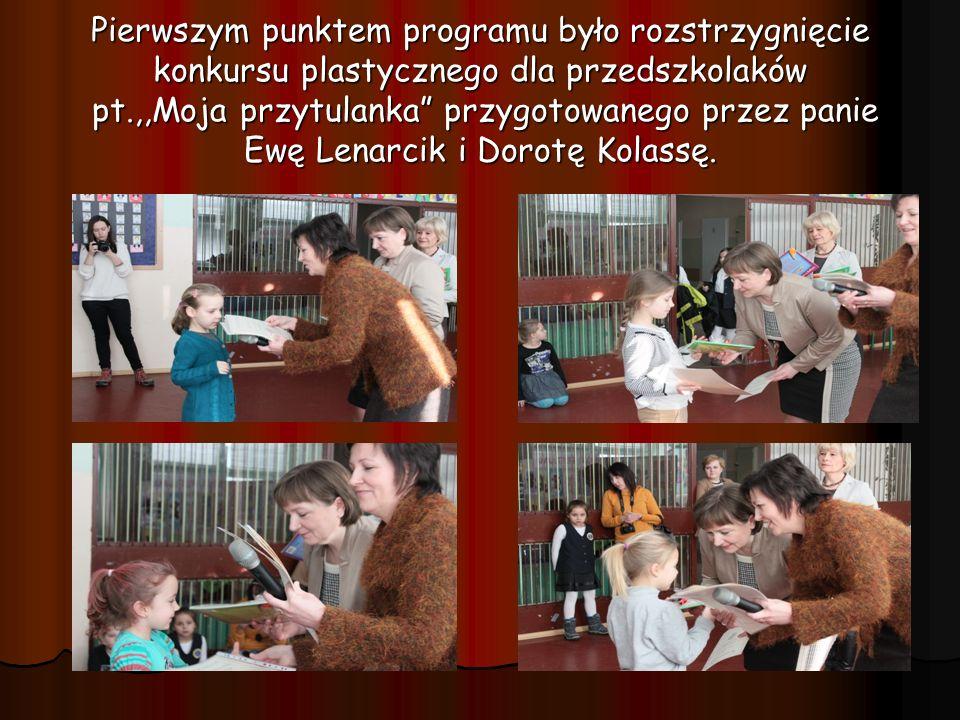 Pierwszym punktem programu było rozstrzygnięcie konkursu plastycznego dla przedszkolaków pt.,,Moja przytulanka przygotowanego przez panie Ewę Lenarcik