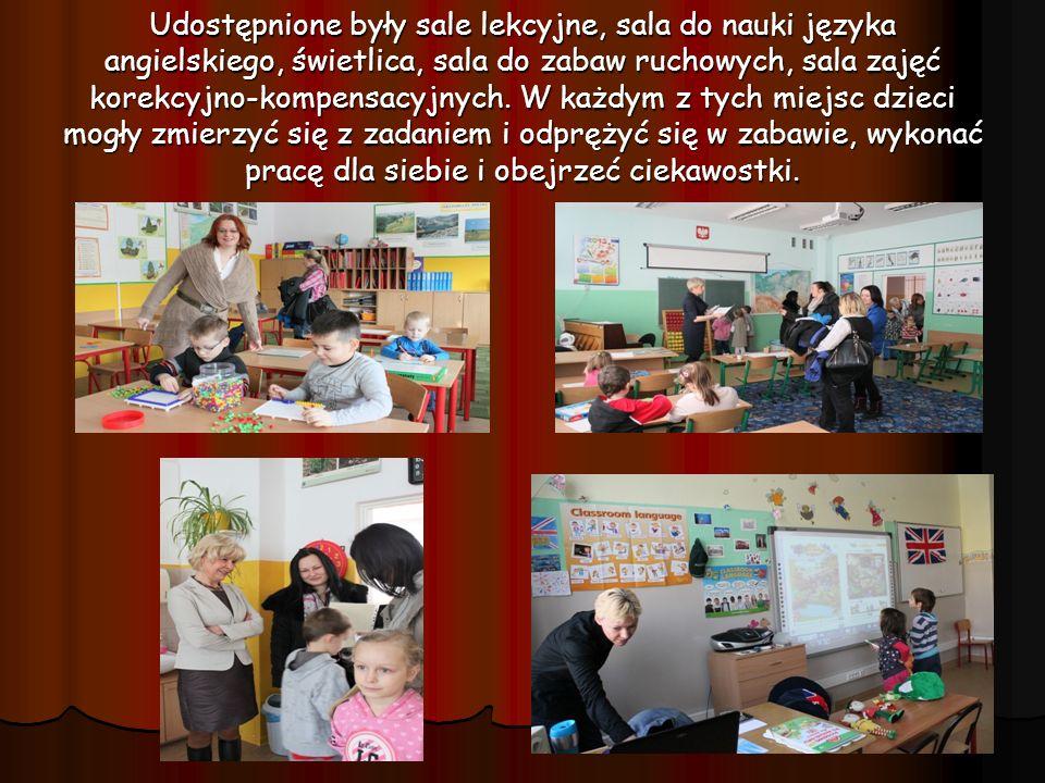 Udostępnione były sale lekcyjne, sala do nauki języka angielskiego, świetlica, sala do zabaw ruchowych, sala zajęć korekcyjno-kompensacyjnych. W każdy