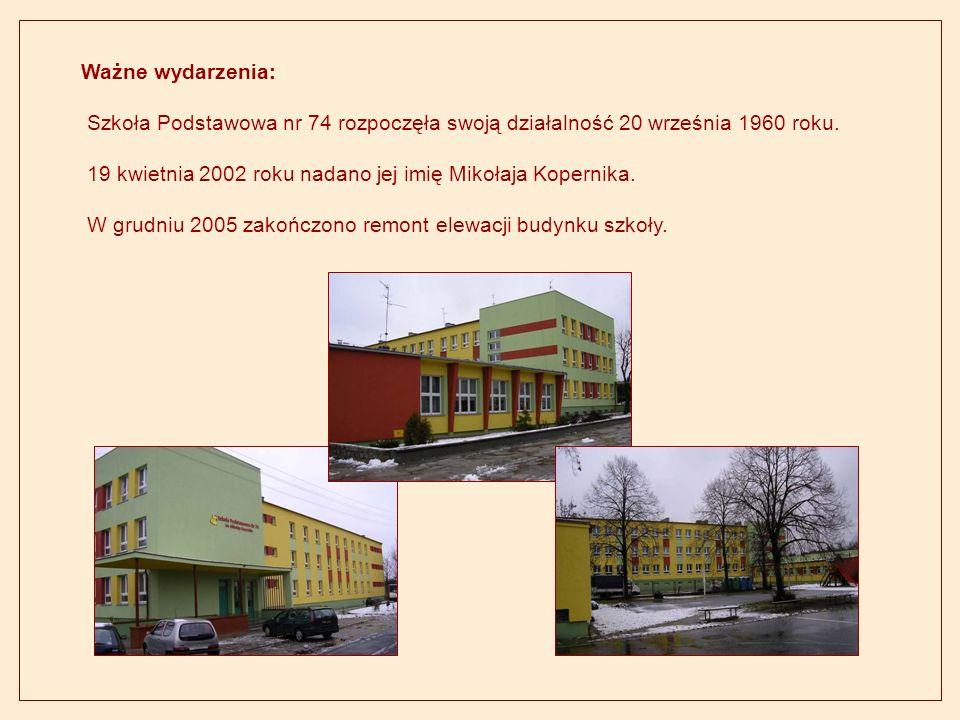Ważne wydarzenia: Szkoła Podstawowa nr 74 rozpoczęła swoją działalność 20 września 1960 roku. 19 kwietnia 2002 roku nadano jej imię Mikołaja Kopernika