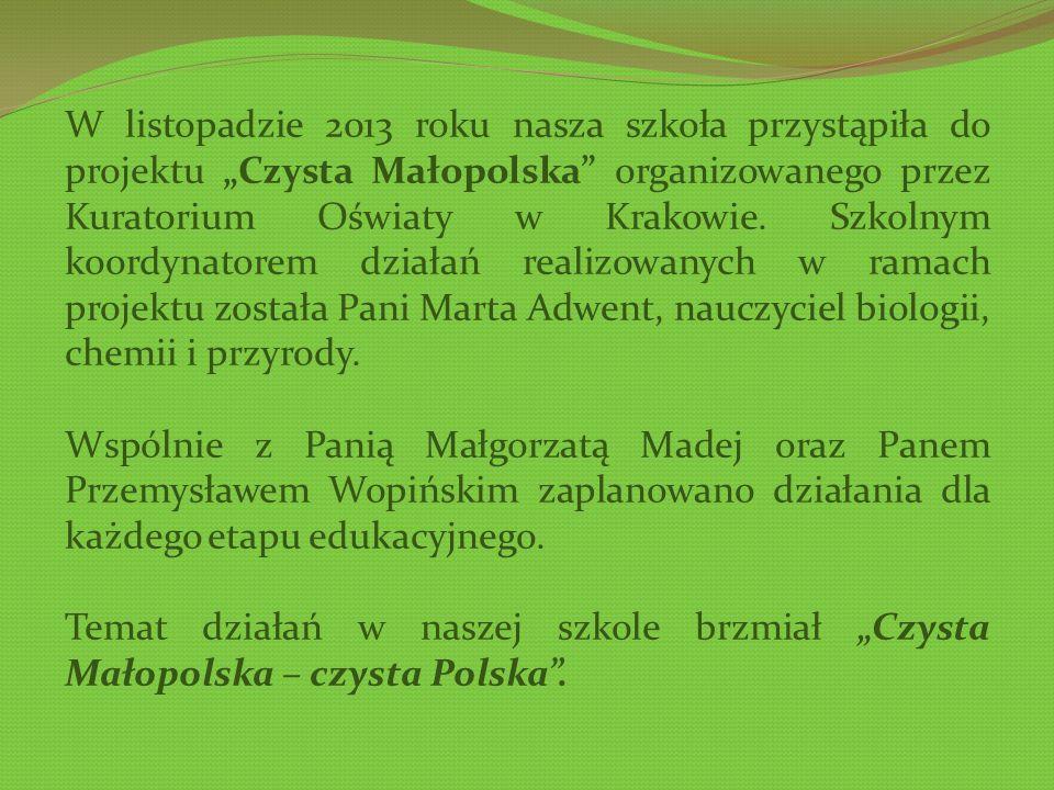 W listopadzie 2013 roku nasza szkoła przystąpiła do projektu Czysta Małopolska organizowanego przez Kuratorium Oświaty w Krakowie.