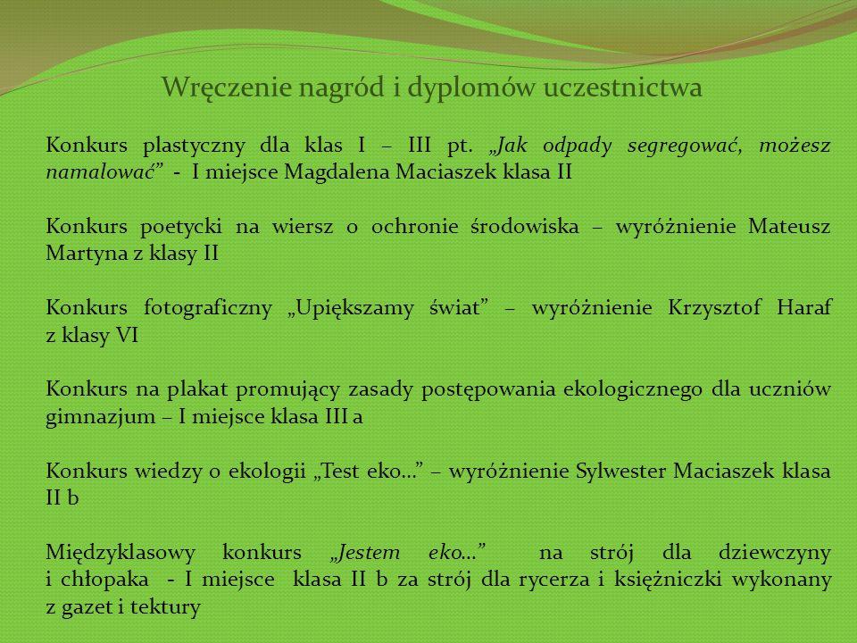 Wręczenie nagród i dyplomów uczestnictwa Konkurs plastyczny dla klas I – III pt.
