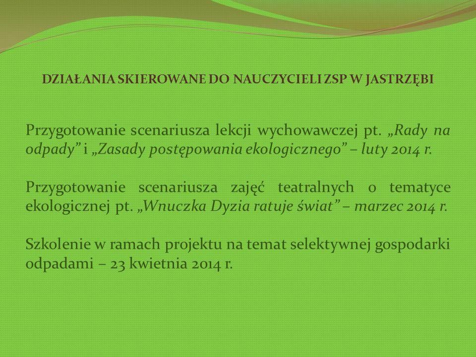 DZIAŁANIA SKIEROWANE DO NAUCZYCIELI ZSP W JASTRZĘBI Przygotowanie scenariusza lekcji wychowawczej pt.