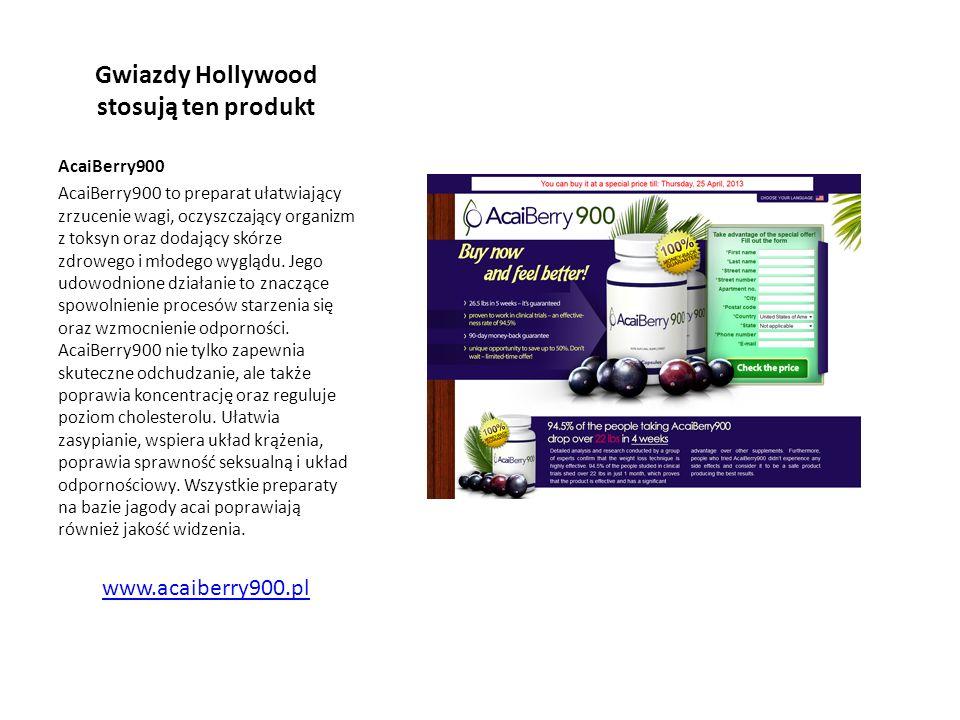 Gwiazdy Hollywood stosują ten produkt AcaiBerry900 AcaiBerry900 to preparat ułatwiający zrzucenie wagi, oczyszczający organizm z toksyn oraz dodający