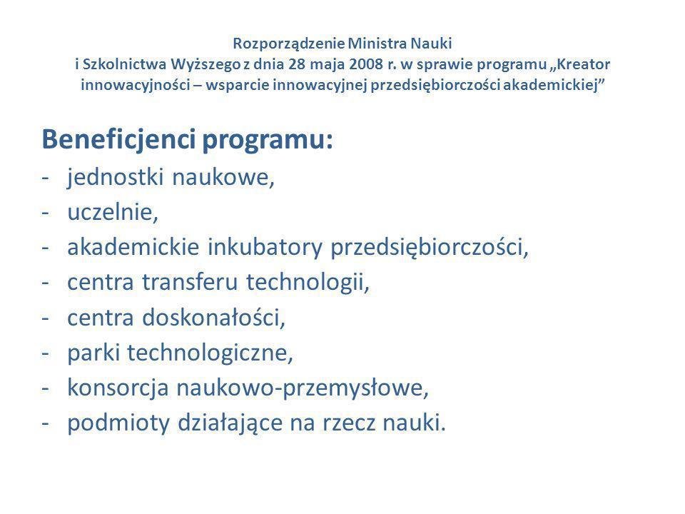 Rozporządzenie Ministra Nauki i Szkolnictwa Wyższego z dnia 28 maja 2008 r. w sprawie programu Kreator innowacyjności – wsparcie innowacyjnej przedsię