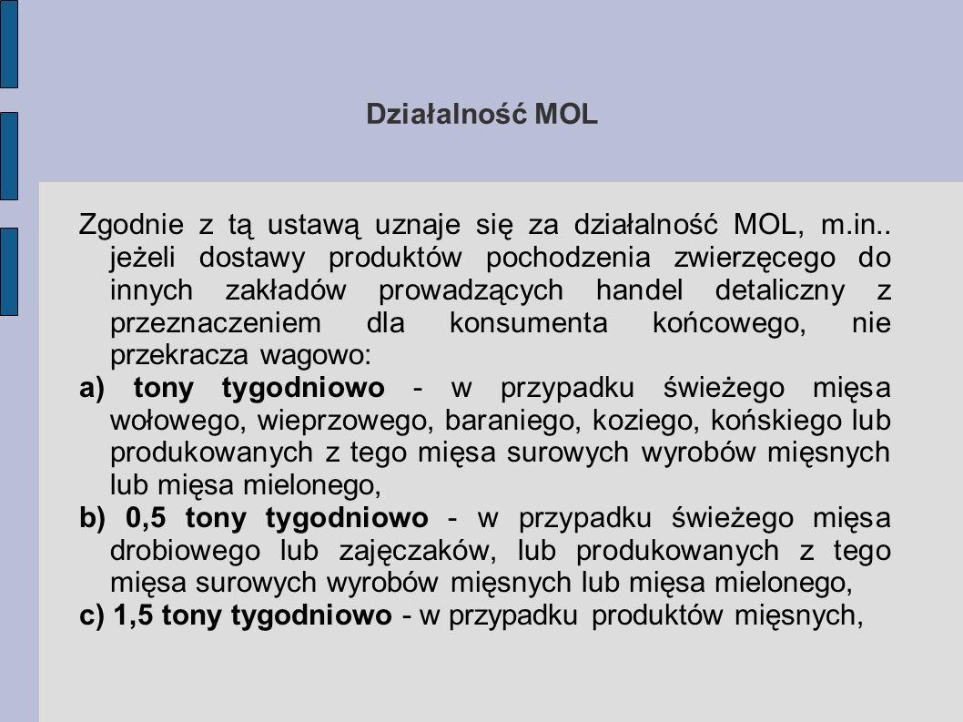 Działalność MOL Zgodnie z tą ustawą uznaje się za działalność MOL, m.in.. jeżeli dostawy produktów pochodzenia zwierzęcego do innych zakładów prowadzą
