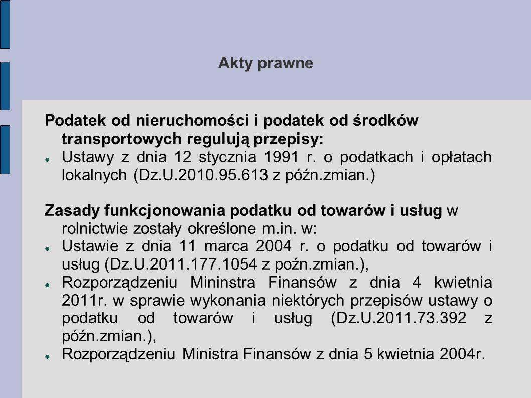 Akty prawne W sprawie worów dokumentów związanych z rejestracją podatników w zakresie podatku od towarów i usług (Dz.U.2004.55.539 z późn.zmian.) Podatek dochodowy z działów specjalnych produkcji rolnej jest regulowany przepisami: Ustawy z dnia 26 lipca 1992 r.