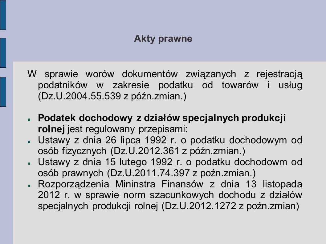Akty prawne W sprawie worów dokumentów związanych z rejestracją podatników w zakresie podatku od towarów i usług (Dz.U.2004.55.539 z późn.zmian.) Poda