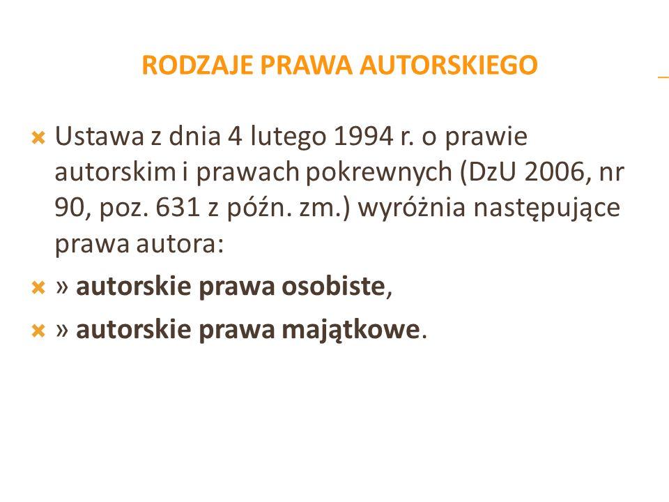 RODZAJE PRAWA AUTORSKIEGO Ustawa z dnia 4 lutego 1994 r. o prawie autorskim i prawach pokrewnych (DzU 2006, nr 90, poz. 631 z późn. zm.) wyróżnia nast