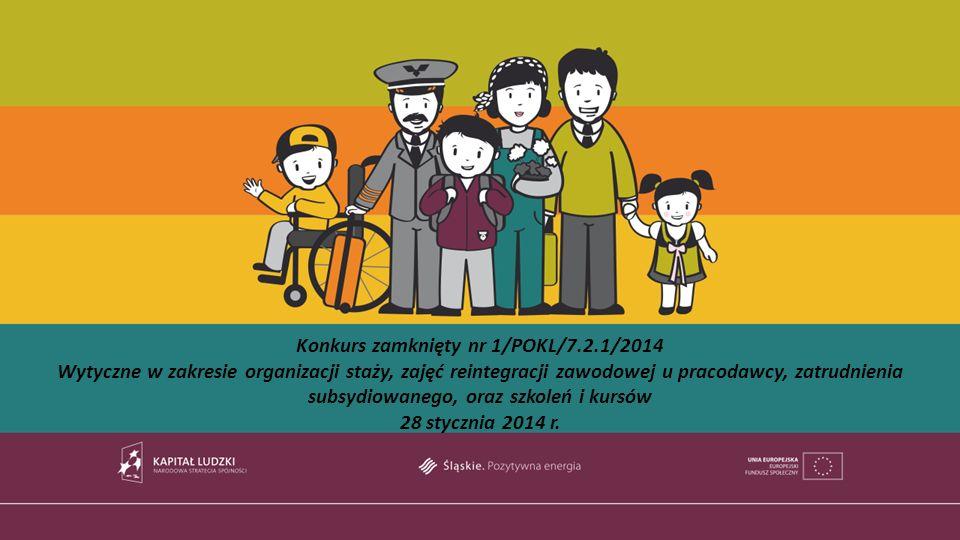 Konkurs zamknięty nr 1/POKL/7.2.1/2014 Wytyczne w zakresie organizacji staży, zajęć reintegracji zawodowej u pracodawcy, zatrudnienia subsydiowanego, oraz szkoleń i kursów 28 stycznia 2014 r.