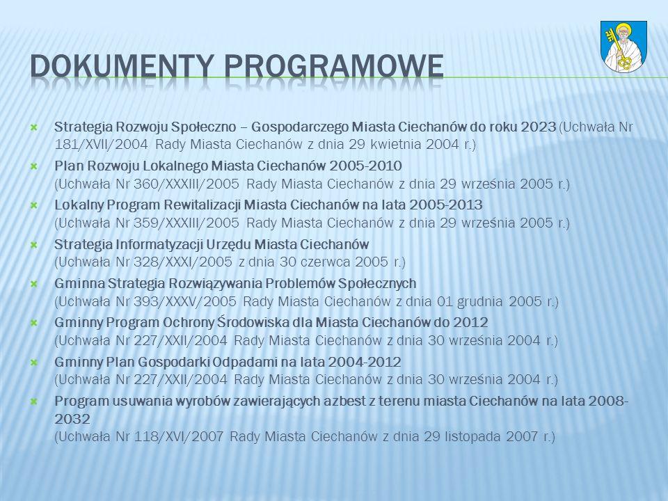 Strategia Rozwoju Społeczno – Gospodarczego Miasta Ciechanów do roku 2023 (Uchwała Nr 181/XVII/2004 Rady Miasta Ciechanów z dnia 29 kwietnia 2004 r.)