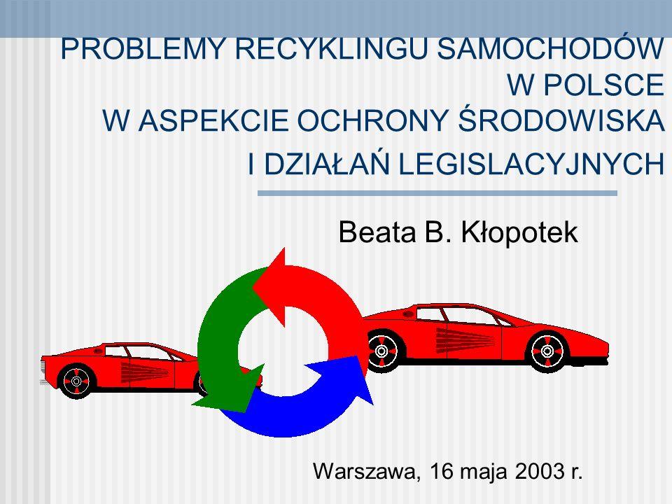 PROBLEMY RECYKLINGU SAMOCHODÓW W POLSCE W ASPEKCIE OCHRONY ŚRODOWISKA I DZIAŁAŃ LEGISLACYJNYCH Beata B.