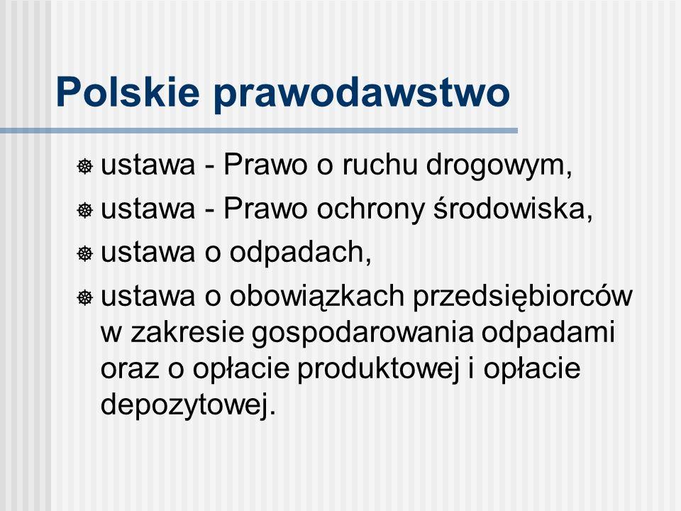 Polskie prawodawstwo ustawa - Prawo o ruchu drogowym, ustawa - Prawo ochrony środowiska, ustawa o odpadach, ustawa o obowiązkach przedsiębiorców w zakresie gospodarowania odpadami oraz o opłacie produktowej i opłacie depozytowej.