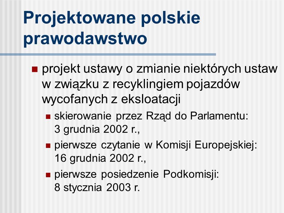 Projektowane polskie prawodawstwo projekt ustawy o zmianie niektórych ustaw w związku z recyklingiem pojazdów wycofanych z eksloatacji skierowanie przez Rząd do Parlamentu: 3 grudnia 2002 r., pierwsze czytanie w Komisji Europejskiej: 16 grudnia 2002 r., pierwsze posiedzenie Podkomisji: 8 stycznia 2003 r.