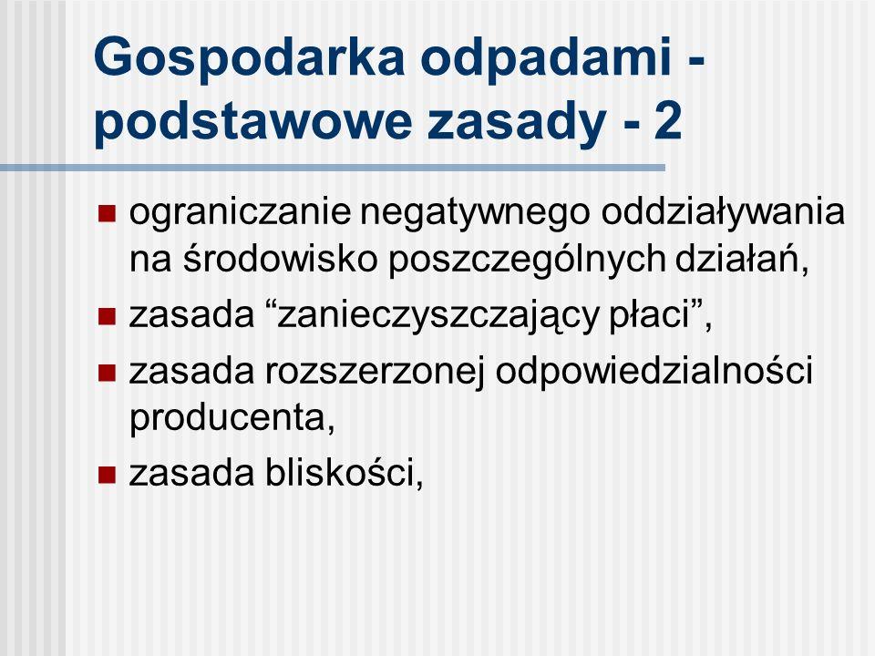Gospodarka odpadami - podstawowe zasady - 2 ograniczanie negatywnego oddziaływania na środowisko poszczególnych działań, zasada zanieczyszczający płaci, zasada rozszerzonej odpowiedzialności producenta, zasada bliskości,