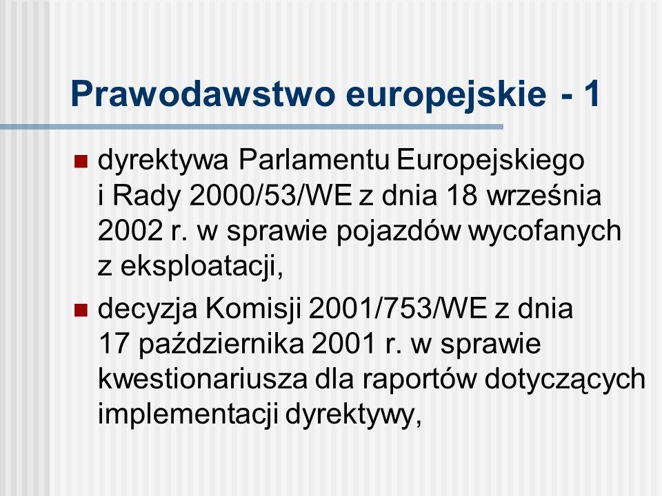 Prawodawstwo europejskie - 1 dyrektywa Parlamentu Europejskiego i Rady 2000/53/WE z dnia 18 września 2002 r.