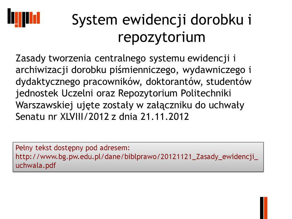 Informacje kontaktowe Testowa wersja repozytorium do celów szkoleniowych znajduje się pod adresem: http://wizzar.ii.pw.edu.pl/RepoPW/ http://wizzar.ii.pw.edu.pl/RepoPW/ Wersja produkcyjna (docelowa) znajduje się pod adresem: http://repo.pw.edu.pl/ Informacje o repozytorium na stronie BG PW: http://www.bg.pw.edu.pl/index.php/dorobek- naukowy-pracownikow-pw/repozytorium-pw http://www.bg.pw.edu.pl/index.php/dorobek- naukowy-pracownikow-pw/repozytorium-pw Instrukcje: http://www.elka.pw.edu.pl/pol/Badania- naukowe/Repozytorium-WEiTI/Podrecznik- uzytkownika http://www.elka.pw.edu.pl/pol/Badania- naukowe/Repozytorium-WEiTI/Podrecznik- uzytkownika http://www.bg.pw.edu.pl/dane/repo/Repozyto riumPW_Podrecznik_edytora_v05.pdf http://www.bg.pw.edu.pl/dane/repo/Repozyto riumPW_Podrecznik_edytora_v05.pdf http://www.bg.pw.edu.pl/dane/repo/repozyto rium_instrukcja_wprowadzania.pdf http://www.bg.pw.edu.pl/dane/repo/repozyto rium_instrukcja_wprowadzania.pdf Kontakt BGPW M.Lewandowska-Tranda – tel.