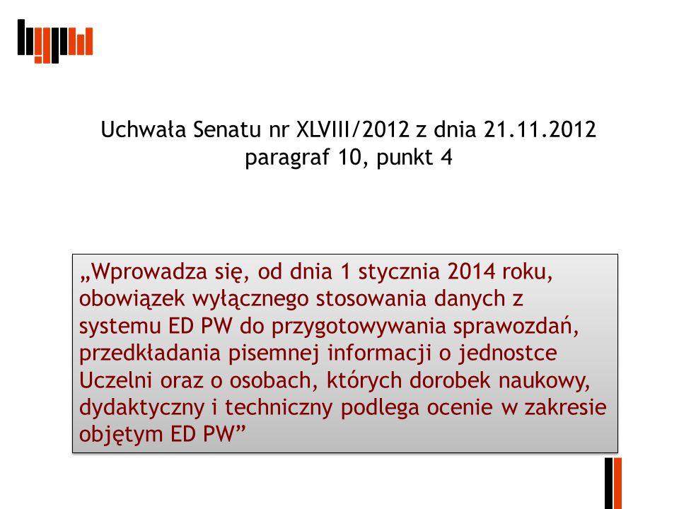 Uchwała Senatu nr XLVIII/2012 z dnia 21.11.2012 paragraf 10, punkt 4 Wprowadza się, od dnia 1 stycznia 2014 roku, obowiązek wyłącznego stosowania dany