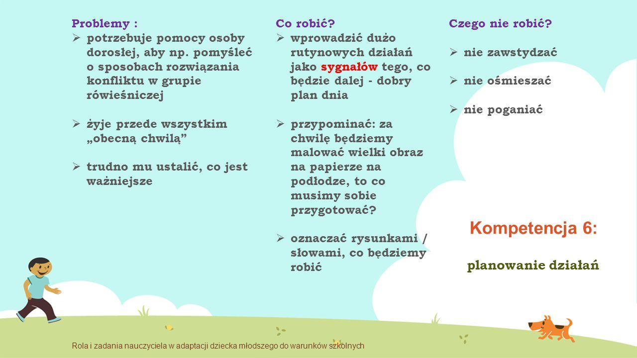 Kompetencja 6: planowanie działań Problemy : potrzebuje pomocy osoby dorosłej, aby np.